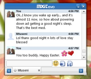 Mxit Easter chatbox
