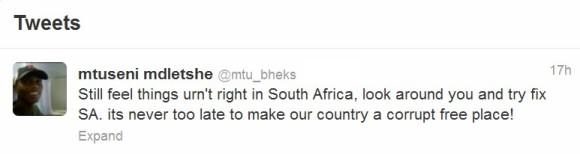 Mtuseni South Africa corruption tweet