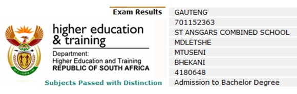 South Africa matric results
