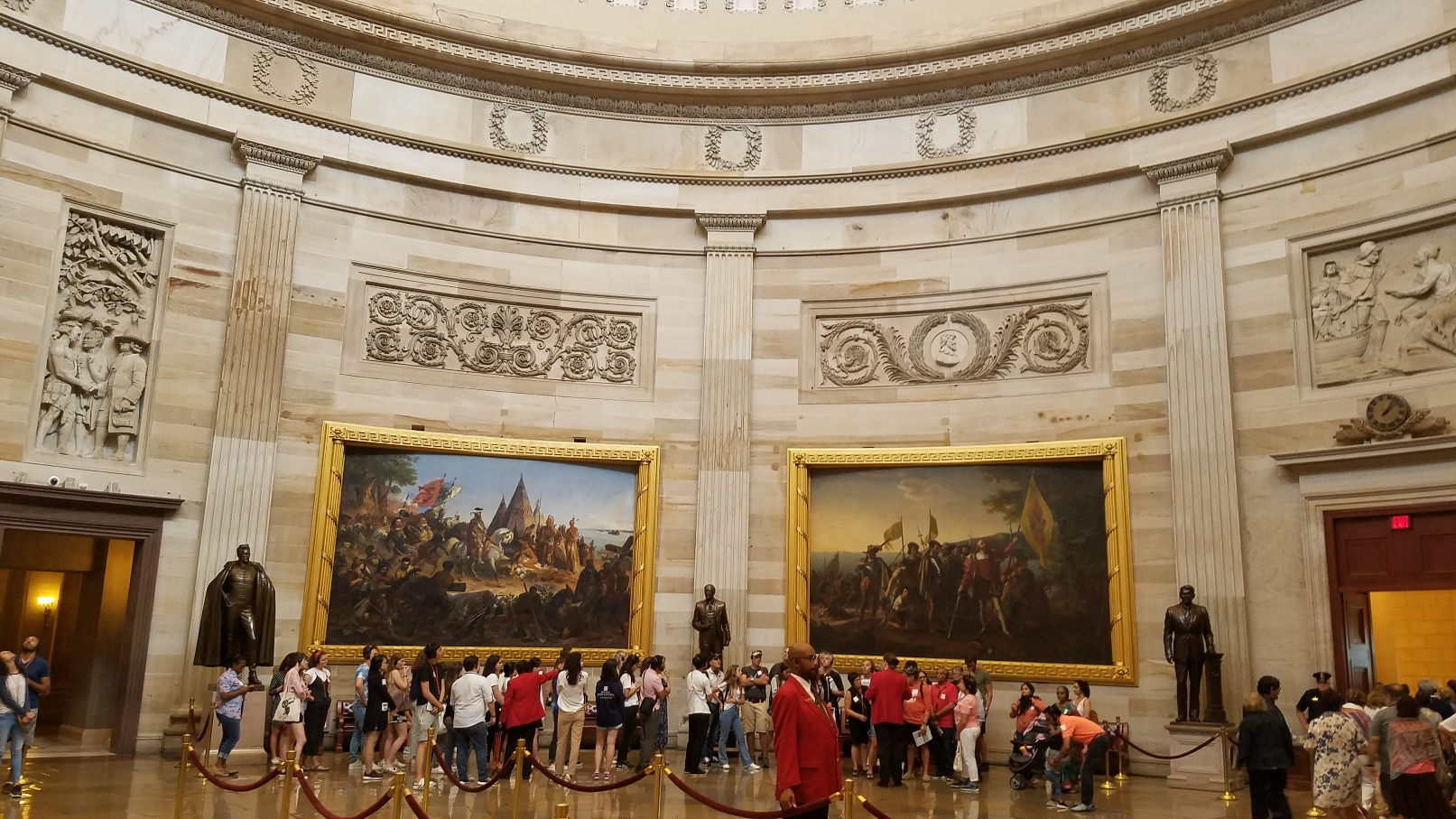 Paintings in the Great Hall of the rotunda of the U.S. Congress in Washington DC
