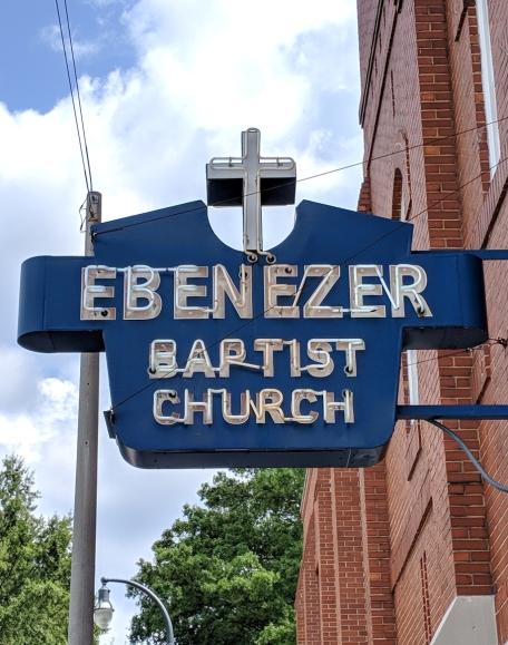Ebenezer Baptist Church neon sign in Atlanta Georgia