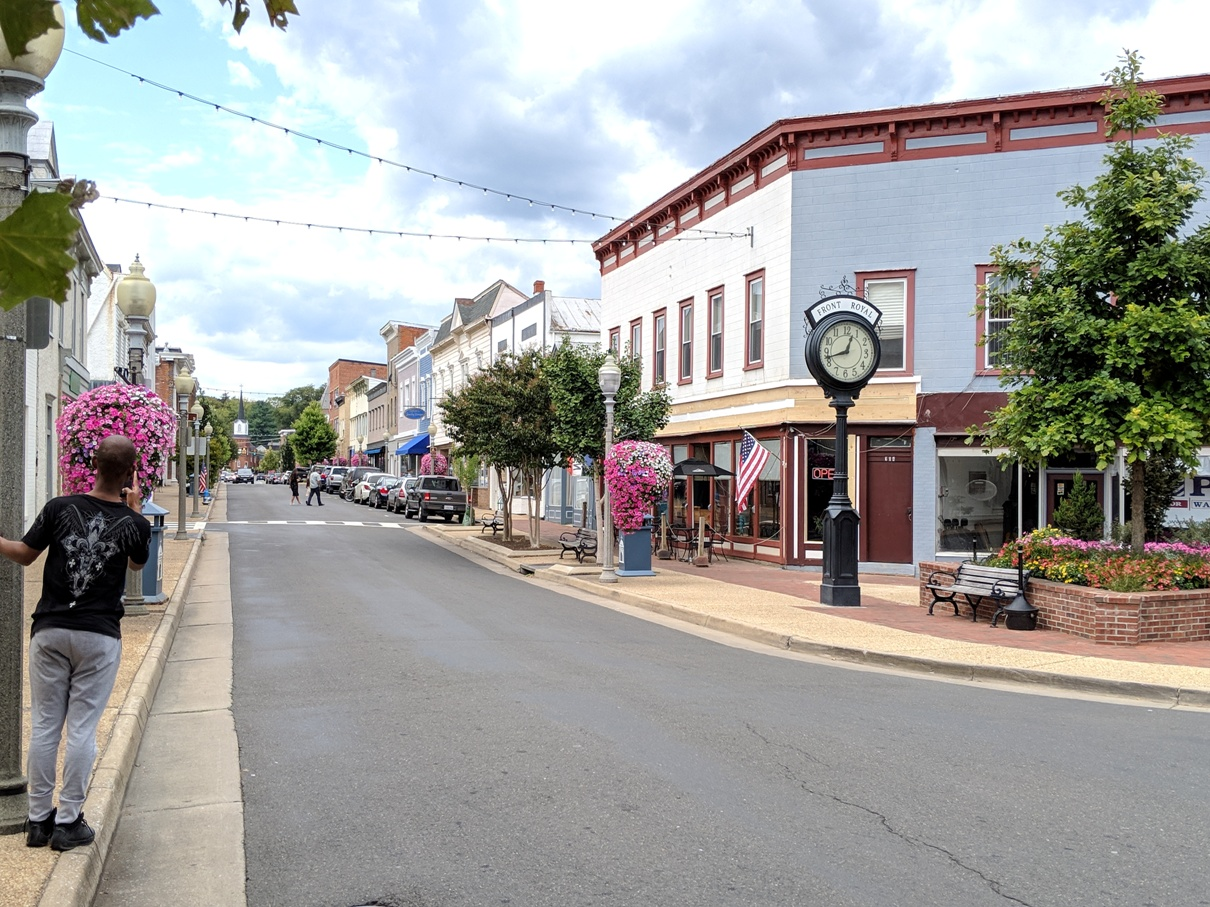 Historical downtown street in Front Royal, Virginia