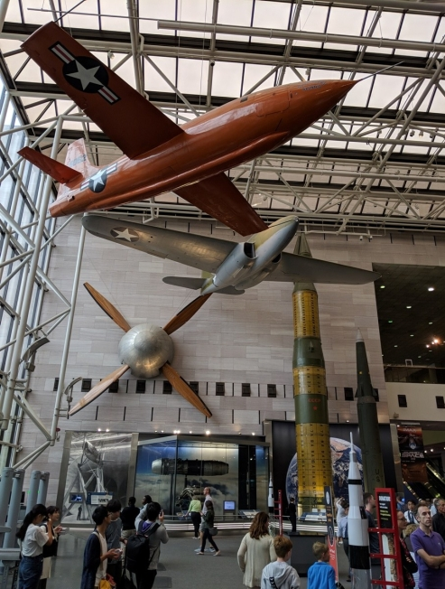 Planes and rockets in lobby of National Air and Space Museum, Washington DC