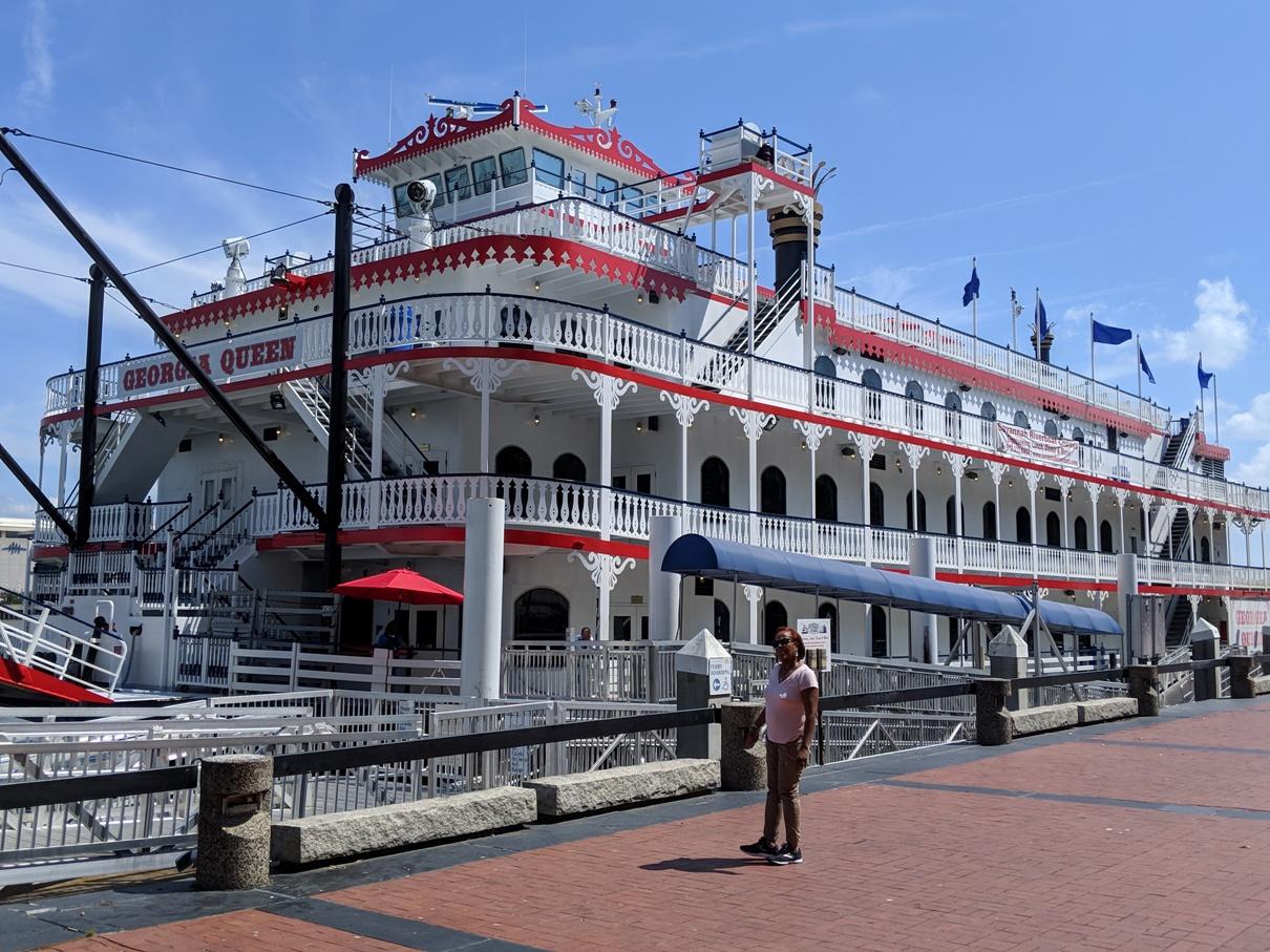 Georgia Queen riverboat docked in Savannah, Georgia