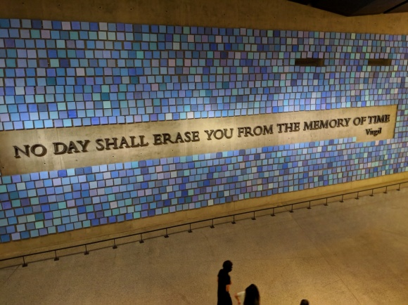 Virgil quote inside 9/11 memorial says: No day shall erase you from the memory of time.