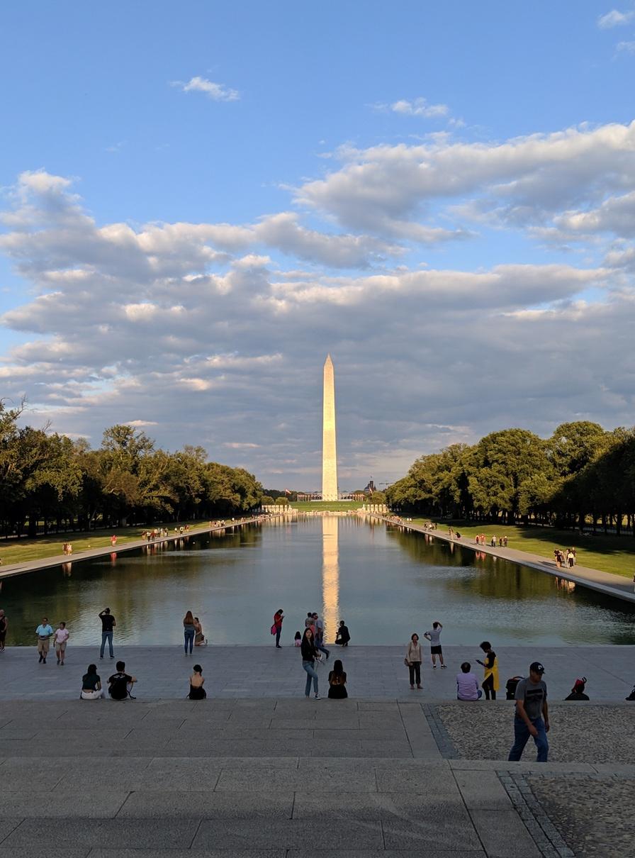 Washington Monument and reflecting pool in Washington DC