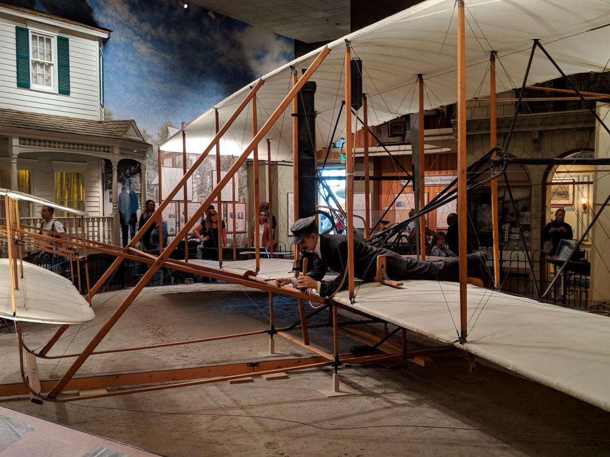 Model of Wright Brothers plane in National Air and Space Museum in Washington DC