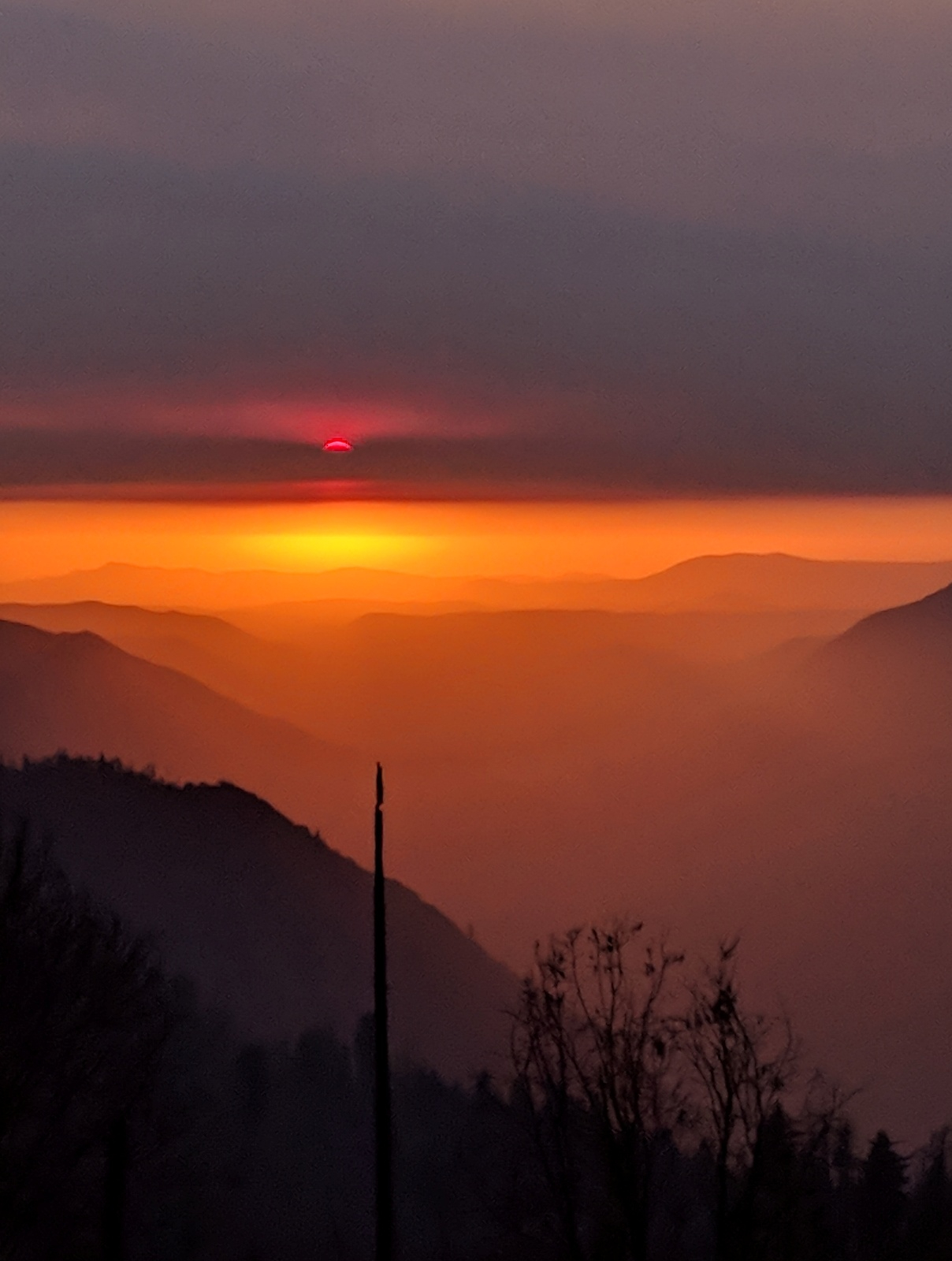 Sunset from the Wawona Road in Yosemite.